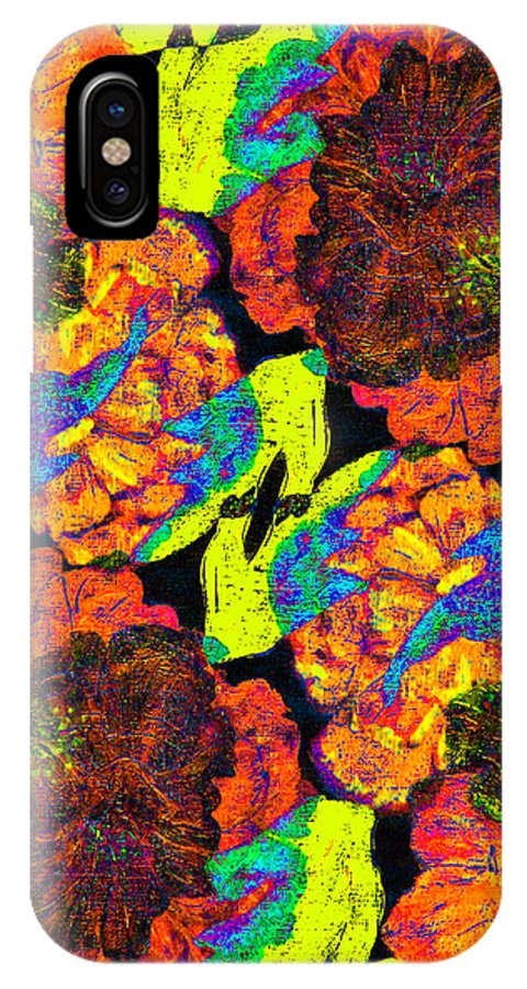 . Flowers IPhone X Case featuring the digital art Falling Flowers by Stephanie Grant
