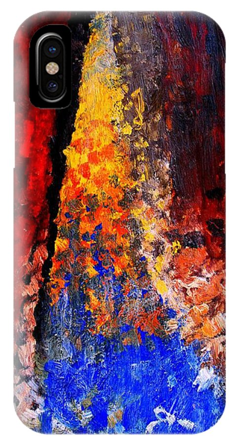 Abstract IPhone X Case featuring the painting Falling by Ian MacDonald
