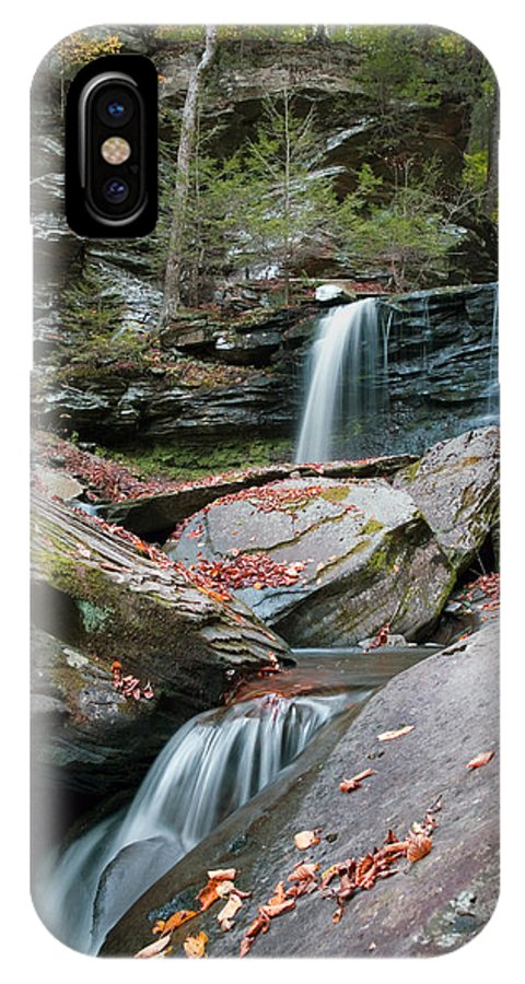 B Reynolds IPhone X Case featuring the photograph Falling Water Meets Fallen Leaves by Gene Walls