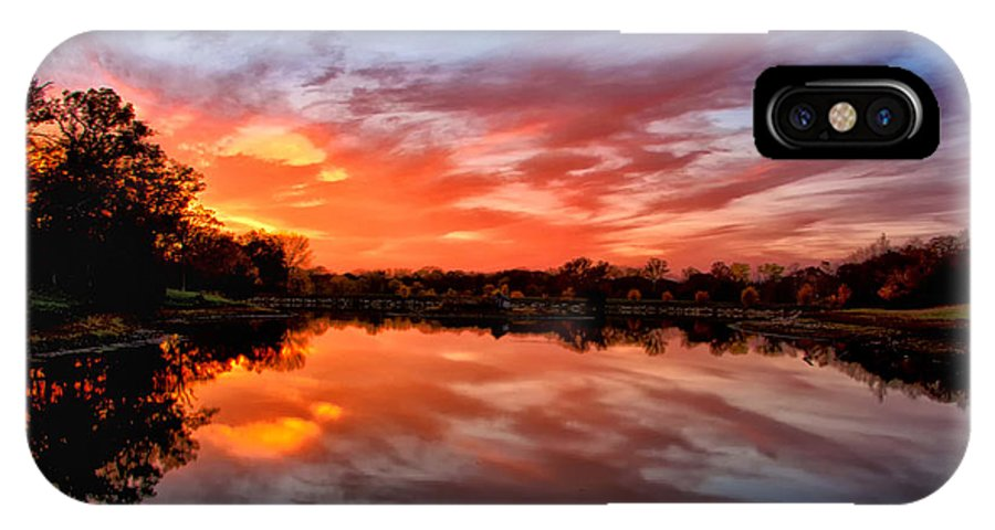 Landscape IPhone X Case featuring the photograph Fall's Reflection by Aaron Thompson