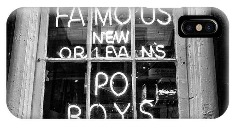 Famous New Orleans Po Boys IPhone X Case featuring the photograph Famous New Orleans Po Boys Mono by John Rizzuto
