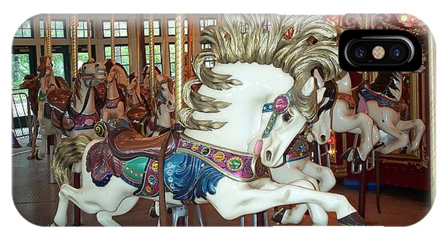 Carousel IPhone X Case featuring the photograph Fancy Flashy Pony -ri by Barbara McDevitt