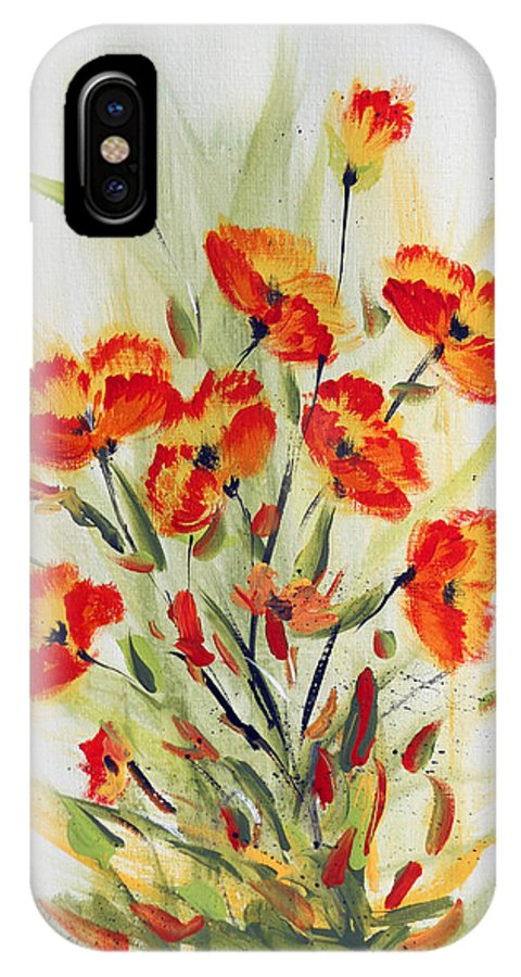 Flowers IPhone X Case featuring the painting Fancy Flowers by Dorothy Maier