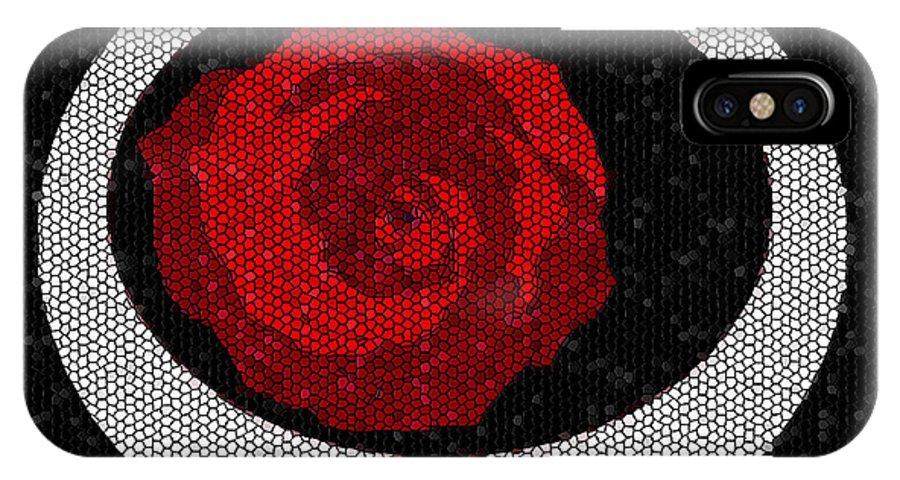 Black IPhone X Case featuring the digital art Fancy Rose by Lewanda Laboy