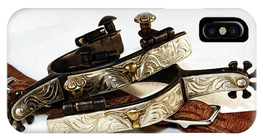 Cowboy IPhone X Case featuring the photograph Fancy Silver Spurs by Lincoln Rogers