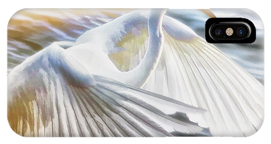 Egret IPhone X Case featuring the photograph Fancy Wing Dancer by Ola Allen