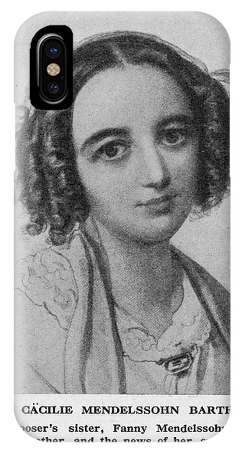 Fanny IPhone X Case featuring the drawing Fanny Caecilie Mendelssohn Sister by Mary Evans Picture Library