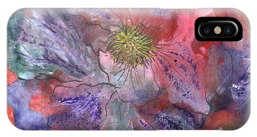 Blue IPhone X Case featuring the painting Fantasy Clematis by Carol Rowland