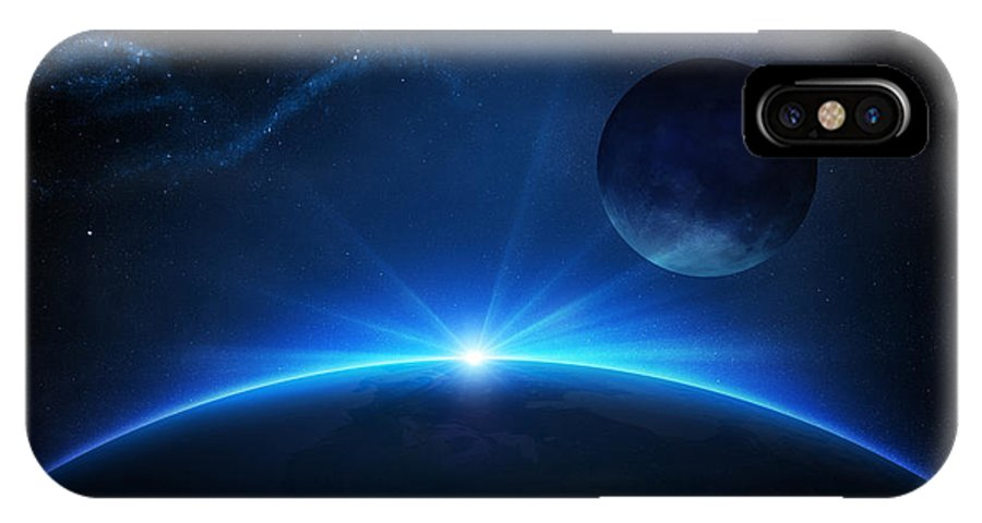Earth IPhone X Case featuring the photograph Fantasy Earth And Moon With Sunrise by Johan Swanepoel