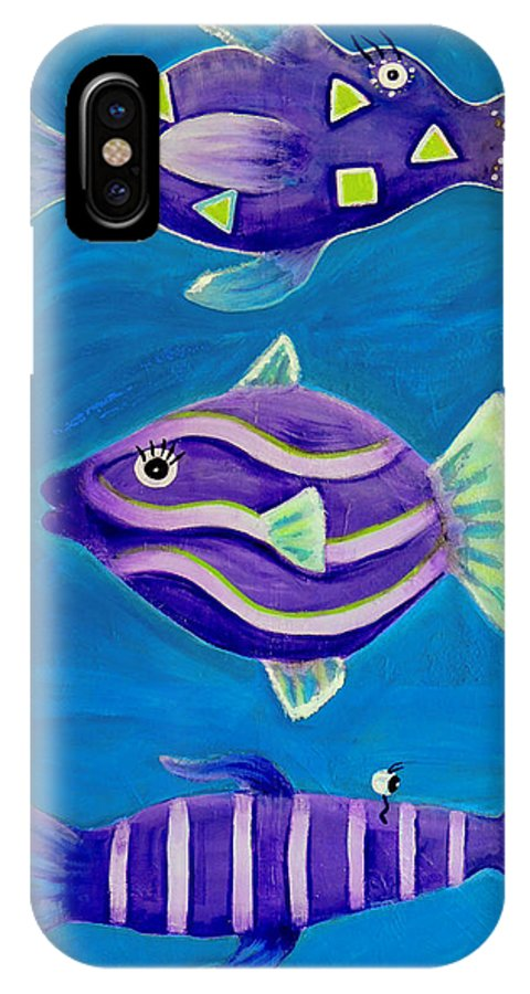 Fantasy IPhone X Case featuring the painting Fantasy Fish by Shirley Smith