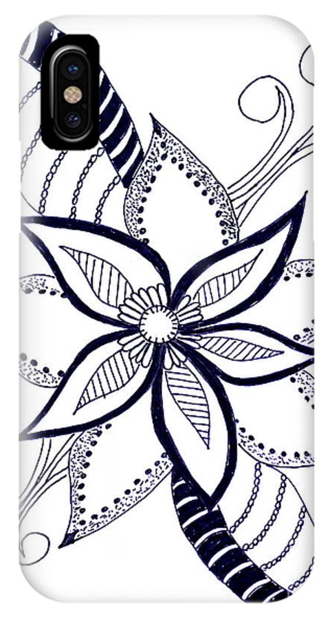 Fantasy IPhone X Case featuring the drawing Fantasy Flower 6 by Sandy Rosen