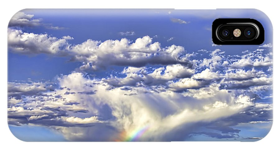 Clouds IPhone X Case featuring the photograph Farewell Rainbow by Brian King