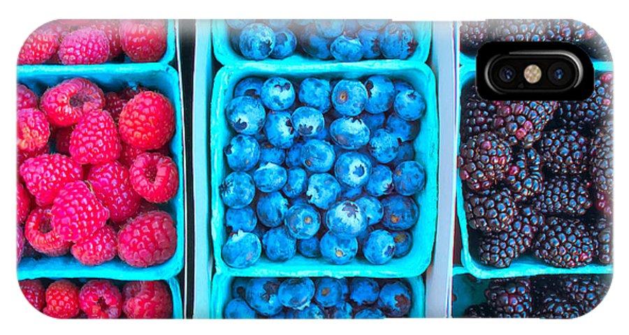 Raspberries IPhone X Case featuring the photograph Farm Fresh Berries - Raspberries Blueberries Blackberies by Ram Vasudev