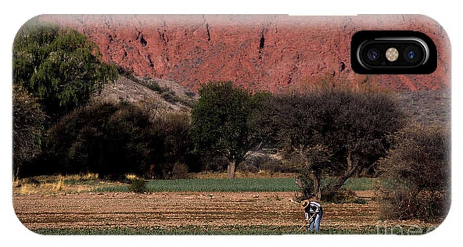 Argentina IPhone X Case featuring the photograph Farmer In Field In Northern Argentina by James Brunker