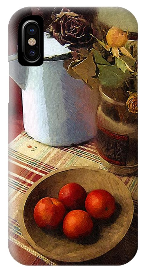 Still Life IPhone X Case featuring the painting Farmhouse Fruit And Flowers by RC DeWinter