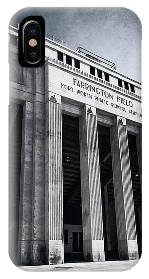 Joan Carroll IPhone X Case featuring the photograph Farrington Field Facade Bw by Joan Carroll