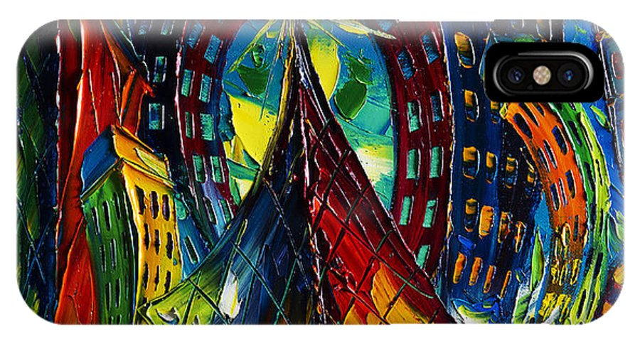 City IPhone X Case featuring the painting Cityscape by Willson Lau