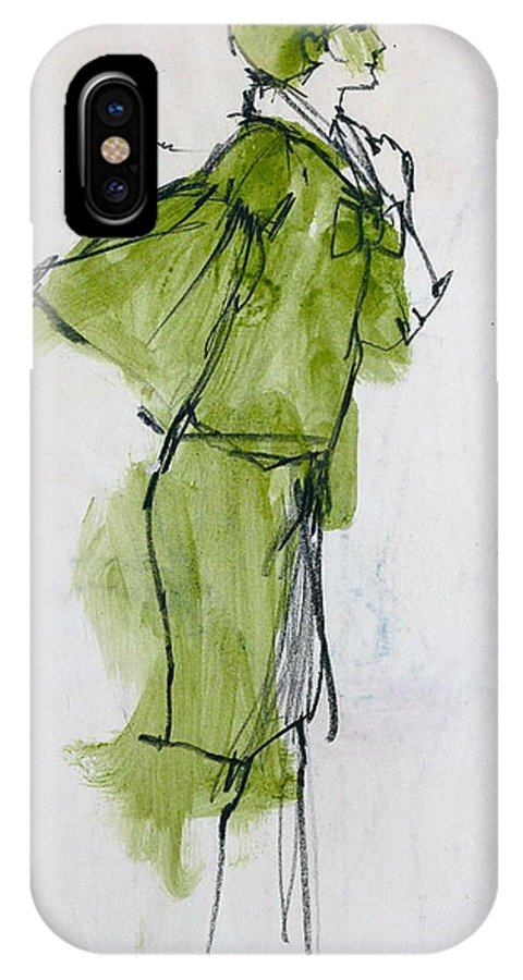 Fashion Drawing Created In 1962 Of Live Model While Attending The Art Center College In Los Angeles California. IPhone X Case featuring the drawing Fashion Drawing From Art Center College - 1962 by Robert Birkenes