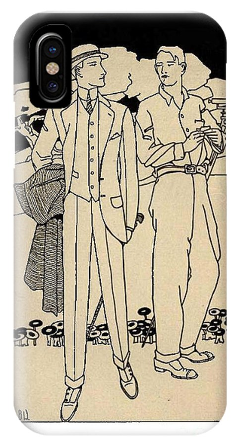 Art Nouveau IPhone X Case featuring the drawing Fashion For Men Circa 1915 by Audley B Wells