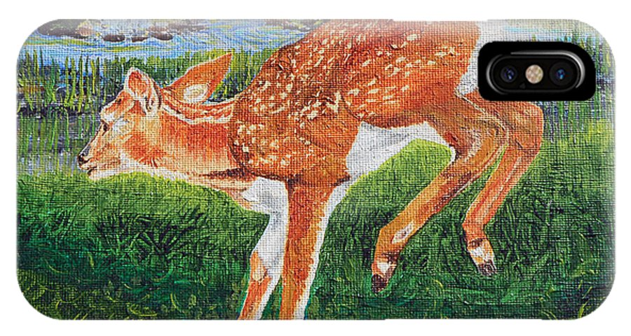 Deer IPhone X Case featuring the painting Fawn In The Holle by Sandra Wilson