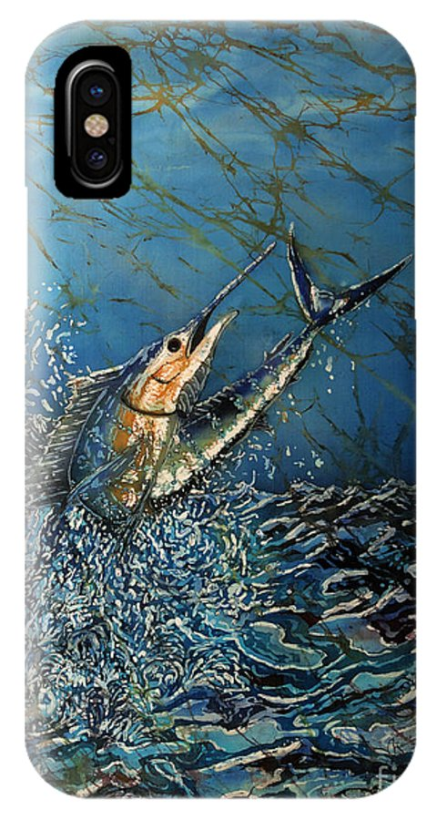 Sailfish IPhone X Case featuring the tapestry - textile Fearless by Sue Duda
