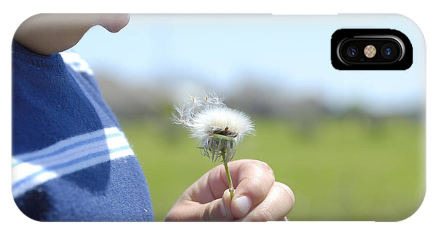 Dandelion IPhone X Case featuring the photograph Feathers In The Wind by Charles Beeler