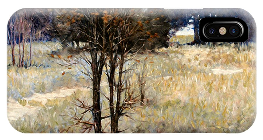 Landscape IPhone Case featuring the painting Feathery Field by Kevin Lawrence Leveque