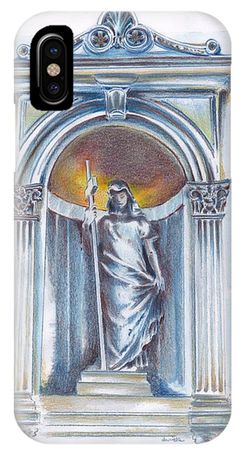 Statues IPhone X Case featuring the drawing Fede  by Daniela Johnson