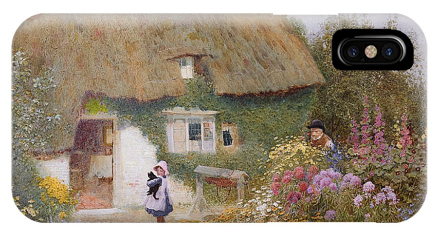 Thatch IPhone X Case featuring the painting Feeding The Pigeons by Arthur Claude Strachan