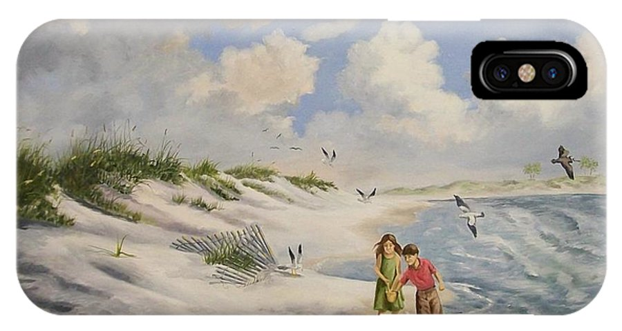 2 Children IPhone X Case featuring the painting Feeding The Wildlife by Wanda Dansereau
