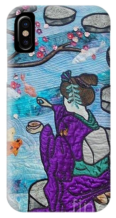 Fiber Art IPhone X Case featuring the tapestry - textile Feeding time by Dolores Fegan