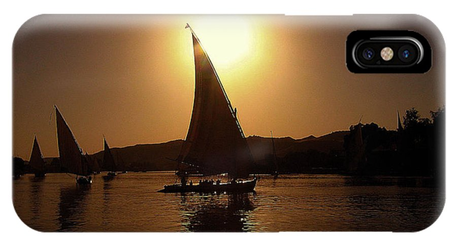 Felucca IPhone X Case featuring the photograph Felucca On The Nile by Jim Southwell