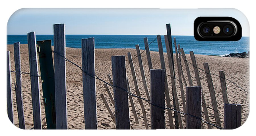 Ocean IPhone X Case featuring the photograph Fence Sand And Ocean by Eryn Carter