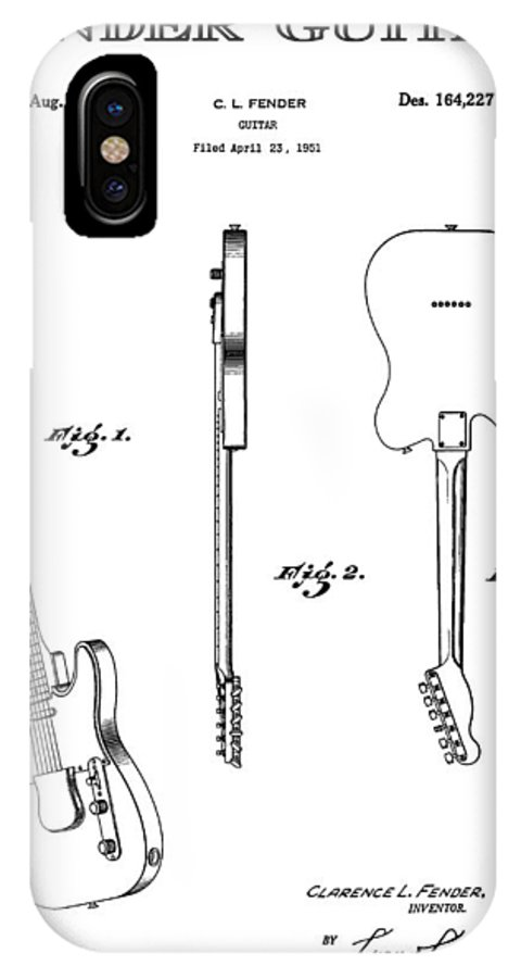 Guitar IPhone X Case featuring the digital art Fender Electric Guitar 4 Patent Art 1951 by Daniel Hagerman