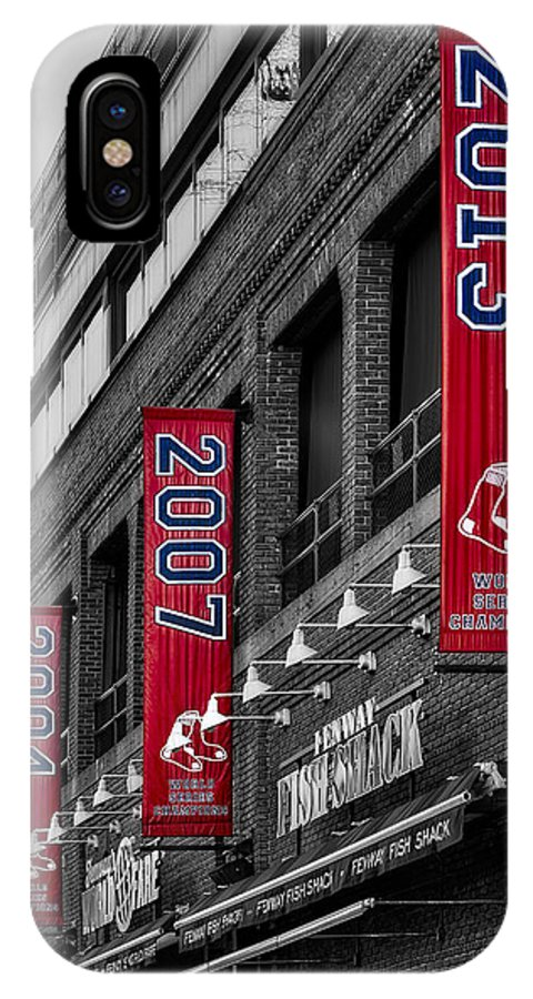 Baseball IPhone X Case featuring the photograph Fenway Boston Red Sox Champions Banners by Susan Candelario