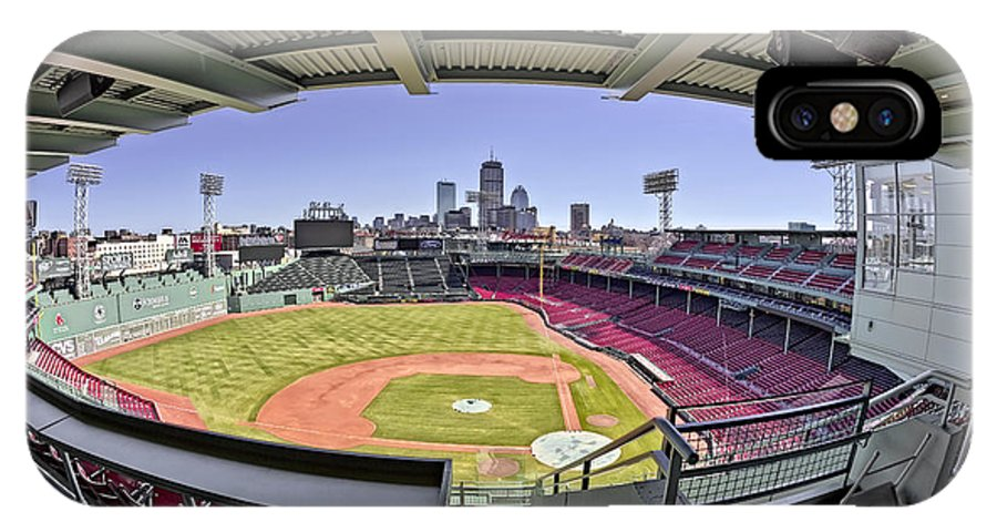 Boston IPhone X Case featuring the photograph Fenway Park And Boston Skyline by Susan Candelario