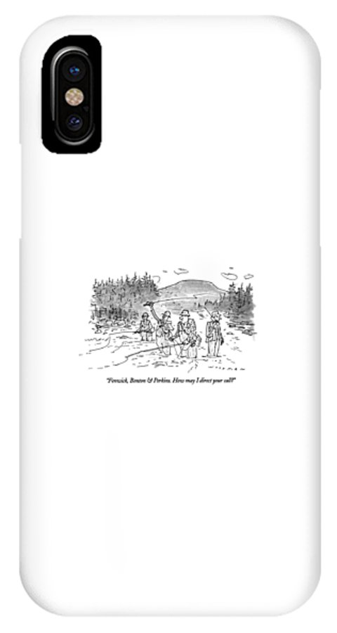 (man Answering Cellular Phone As He Stands Behind His Bosses Who IPhone X Case featuring the drawing Fenwick, Benton & Perkins. How May I Direct by Bill Woodman