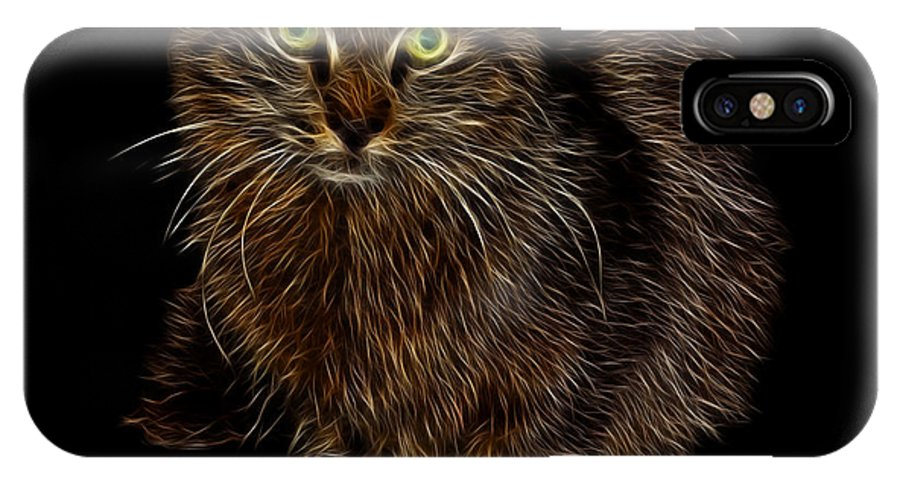 Cat IPhone X Case featuring the digital art Feral Cat - 9905 F by James Ahn