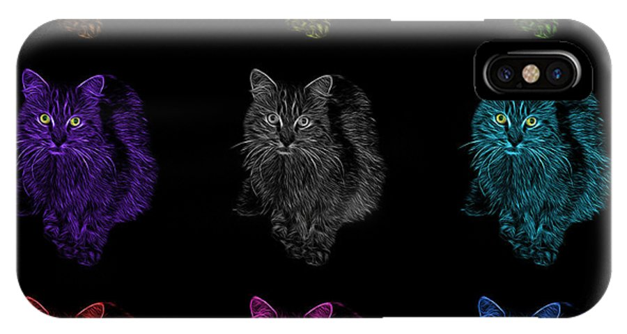 Cat IPhone X Case featuring the digital art Feral Cat Pop Art - 9905 F M - Bb by James Ahn