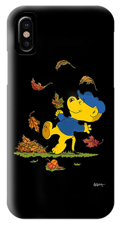 Ferald IPhone Case featuring the drawing Ferald Dancing Amongst The Autumn Leaves by Keith Williams