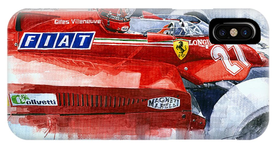 Watercolor IPhone X Case featuring the painting Ferrari 126c Silverstone 1981 British Gp Gilles Villeneuve by Yuriy Shevchuk