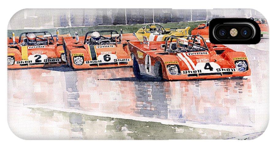 Watercolor IPhone X Case featuring the painting Ferrari 312 Pb Daytona 6 Hours 1972 by Yuriy Shevchuk