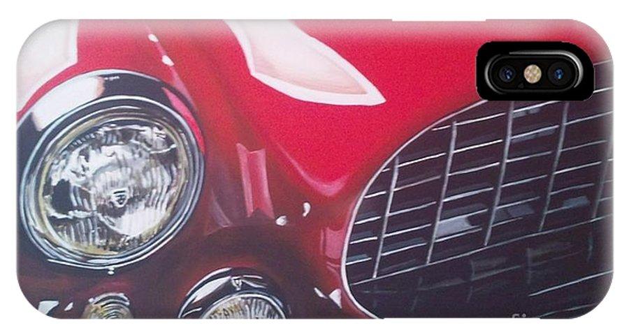 Ferrari IPhone X Case featuring the painting Ferrari 342 by Richard John Holden RA