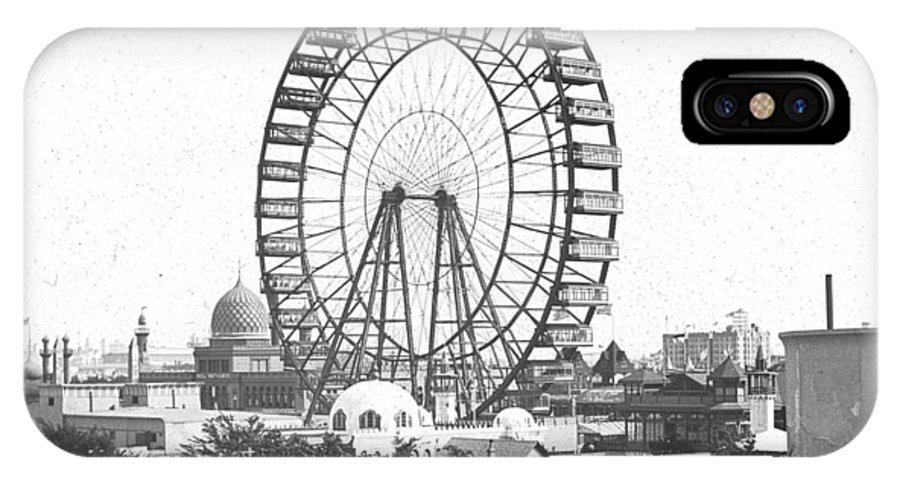 Columbian Exposition IPhone X Case featuring the photograph Ferris Wheel At Chicago Worlds Fair Columbian Exposition 1893 by Historic Photos