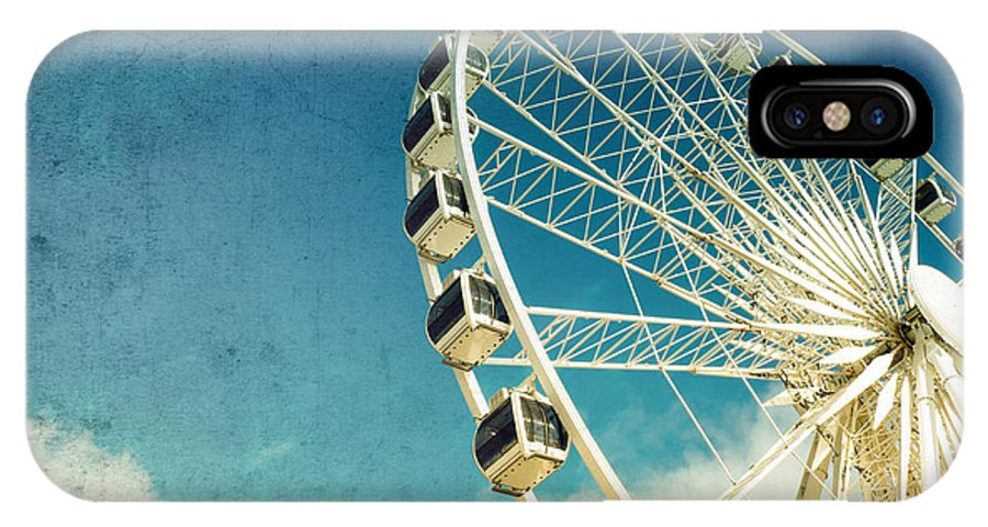Wheel IPhone X Case featuring the photograph Ferris Wheel Retro by Jane Rix