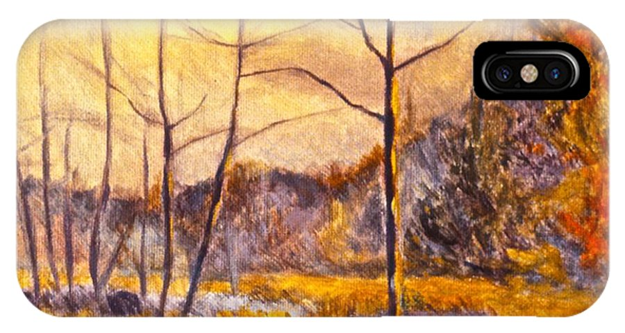 Landscape IPhone X Case featuring the painting Ferrum by Kendall Kessler