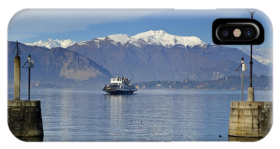 Ferry IPhone X Case featuring the photograph Ferry Boat On An Alpine Lake by Mats Silvan
