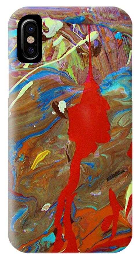 Original IPhone X Case featuring the painting Fete All Night by Artist Ai