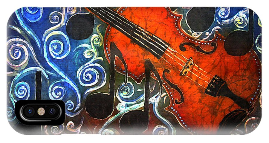 Fiddle IPhone X / XS Case featuring the painting Fiddle - Violin by Sue Duda