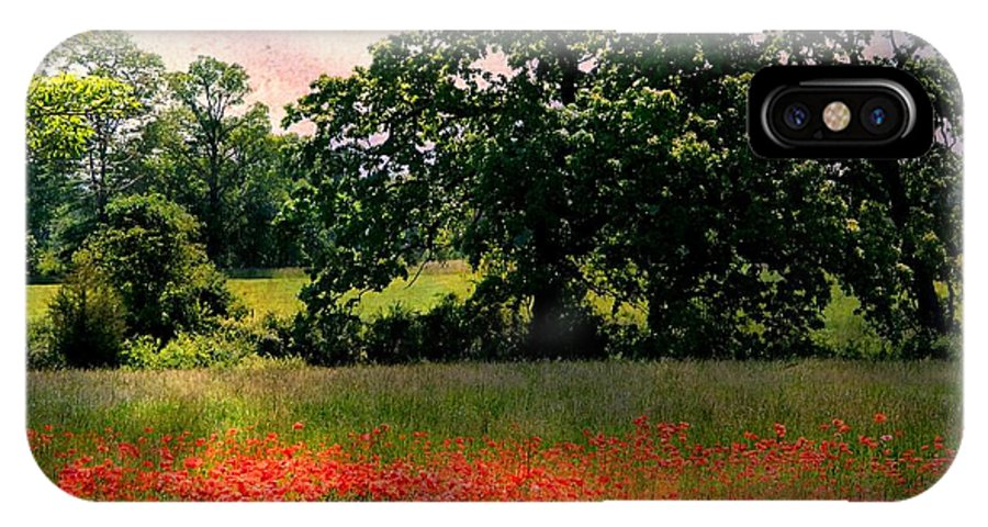 Landscape IPhone X Case featuring the photograph Field Of Poppies by Anne McDonald